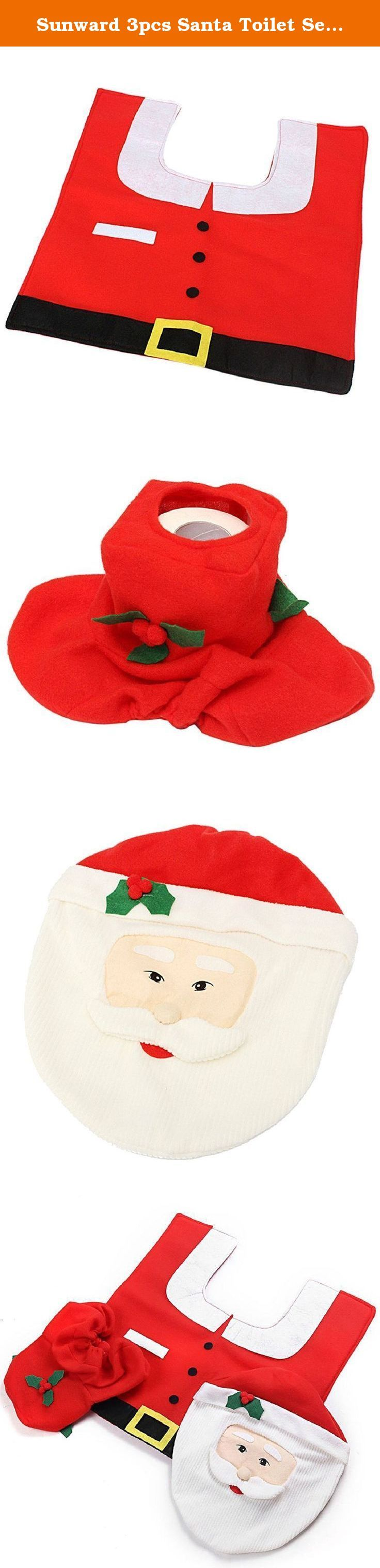 Sunward 3pcs Santa Toilet Seat Cover and Rug Bathroom Set Christmas Decoration (Red). 100% Brand new and high quality. Size: Toilet Cover:35cmX43cm ,Tank Cover:38cmX20cmX16cm ,Contour Rug:57cmX55cm. Toilet Seat And Tank Cover Is Included As Well As A Rug And Tissue Box Cover. Great Addition To The Holiday Spirit With A Cute Smiley Face Snowman ,Rug Has An Anti-Slippery Rubber Back ,Elastic Edges On The Covers For A Secure, Snuggly Fit ,It's Colorful, Cute, And A Holiday Spirit Go Booster....