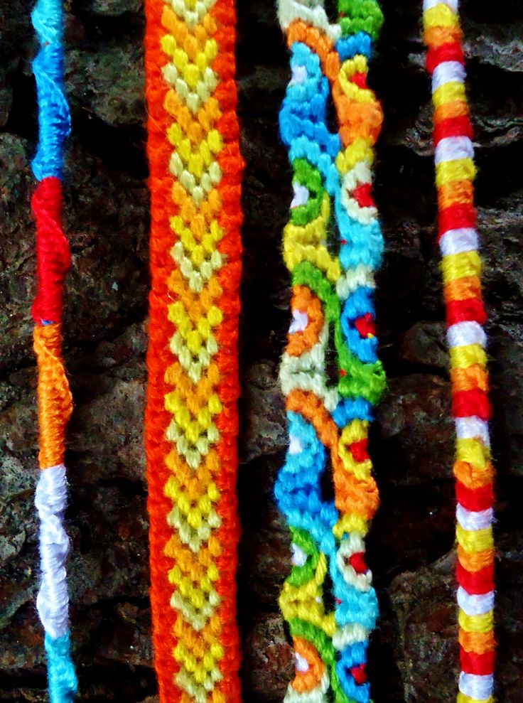 Camp Friendship Bracelets. Single Strand, Bordered Chevron, Totem Pole and Single Strand.