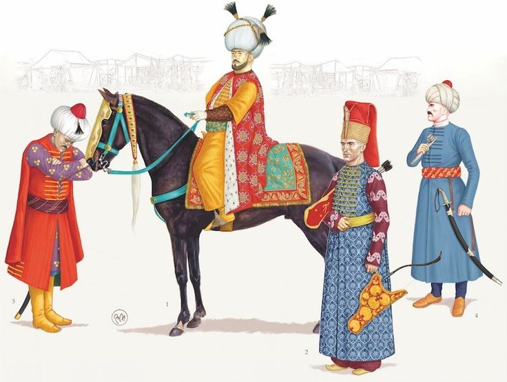 The Sublime Porte - (1) Sultan Mehmed III, (2) Ic-oglan, Sultan's page, (3) Sancakbeg, (4) Çavus, logistics officer. - Bruno Mugnai & Chris Flaherty. «Der Lange Türkenkrieg (1593-1606) Vol. I.»