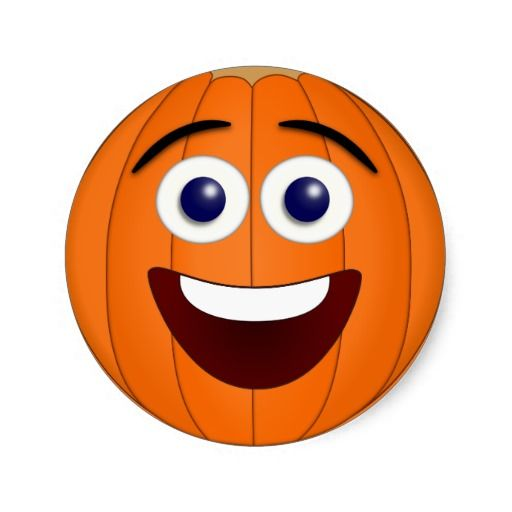 Laughing Smiley Face Pumpkin Classic Round Stickers -  Trick or treat! Leo the Laughing Smiley has dressed up as a pumpkin for Halloween. Add a little humor to your end of October fun with these adorable stickers. http://www.zazzle.com/laughing_smiley_face_pumpkin_classic_round_sticker-217676916151791539?rf=238083504576446517&tc=pint