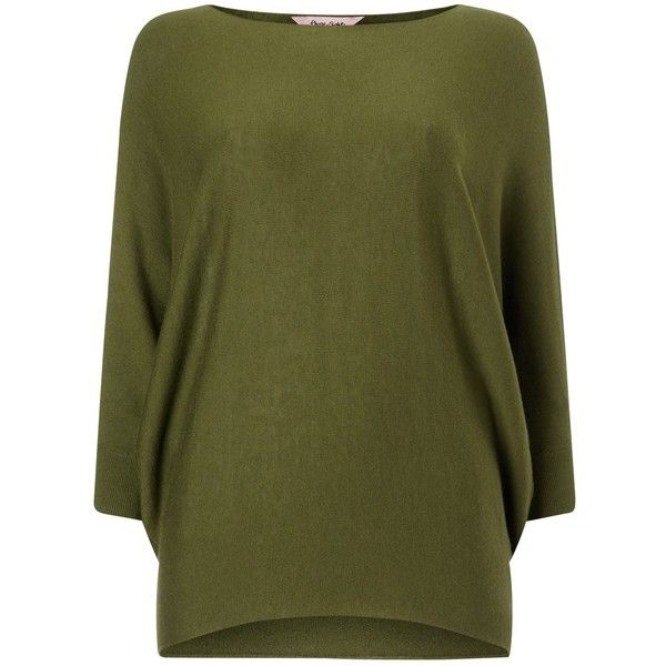 Phase Eight Becca Batwing Jumper , Olive ($60) ❤ liked on Polyvore featuring tops, sweaters, olive, batwing tops, round neck sweater, olive green sweater, full length sweater and olive green top