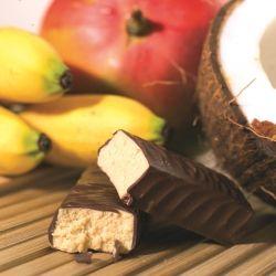 BARRE HYPERPROTEINEE BANANE COCO. Une barre 100% exotique ! Retrouvez tout le goût d'une confiserie dans cette barre moelleuse et légère intégralement recouverte de chocolat ! Cliquez http://www.mincidelice.com/fr/p-barre-hyperproteinee-banane-coco-p358.html