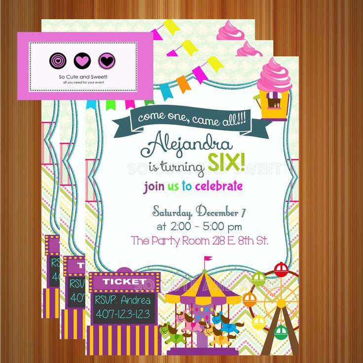 amusement park birthday invitation Carniva, Ferris Wheel
