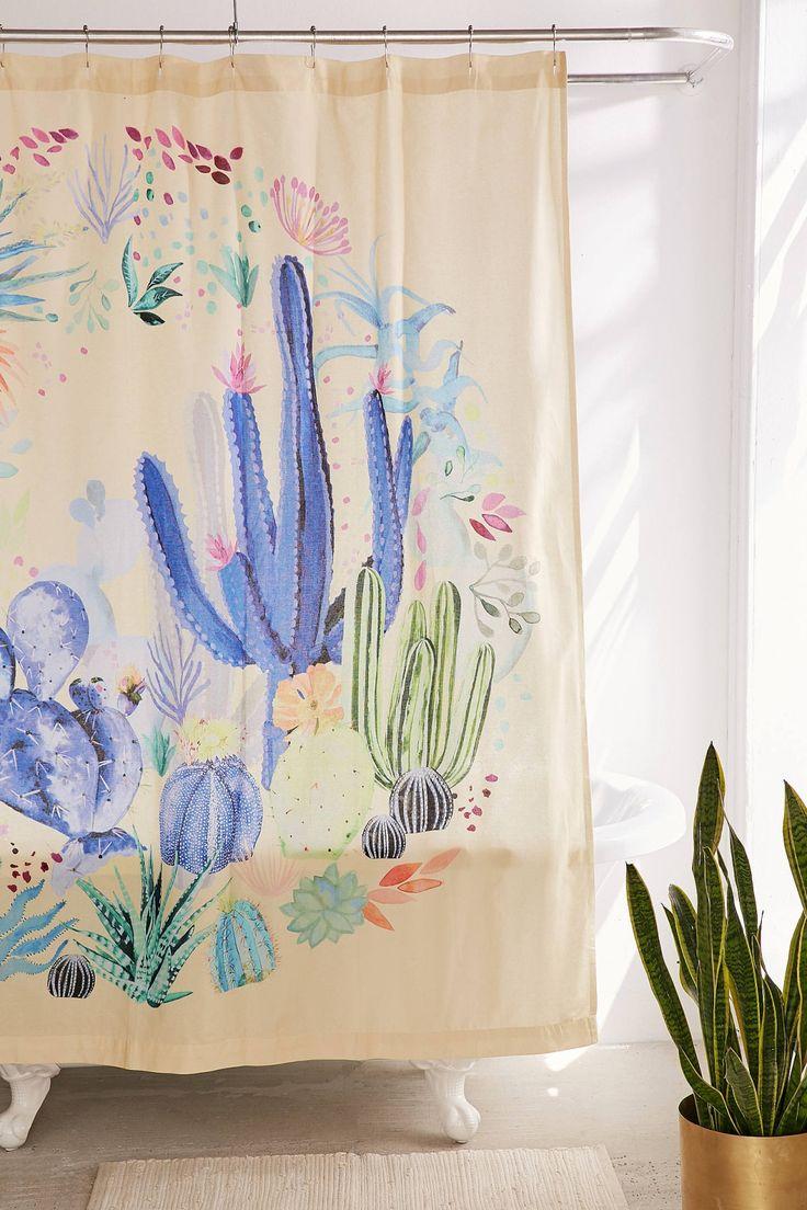 Rainbow bathroom accessories - Cactus Terrarium Shower Curtain