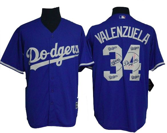 Los Angeles Dodgers Jersey - Fernando Valenzuela - Blue Team Logo Fashion Jersey