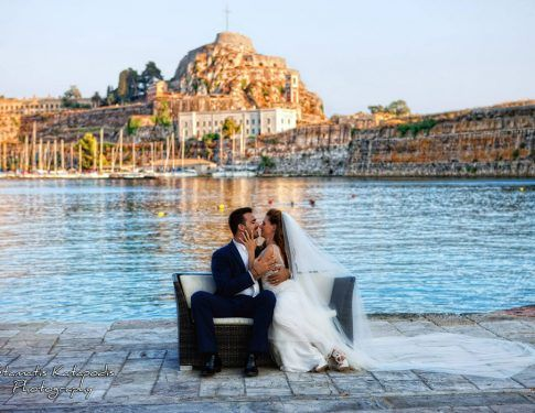Wedding in Corfu with view to the Old Fortress