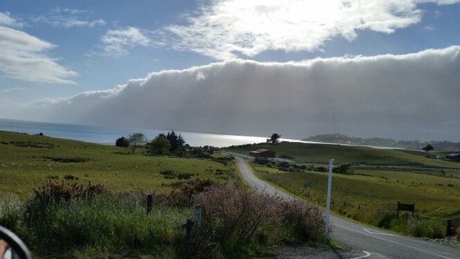 driving down to Moeraki boulders with fog leaving, Otago NZ