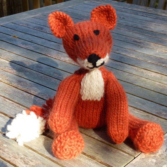 Knitting Pattern (UK) for Freddie Fox - an adorable knitted fox.  Worked in a simple stocking stitch with a pom pom tail.
