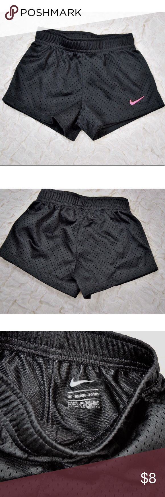 Black Nike toddler girl shorts Adorable toddler girl Nike shorts💕Size 3T or 2-3 years💕Black with pink swoosh💕100% polyester💕Like new-maybe worn a few times💕Smoke and pet free home Nike Bottoms Shorts