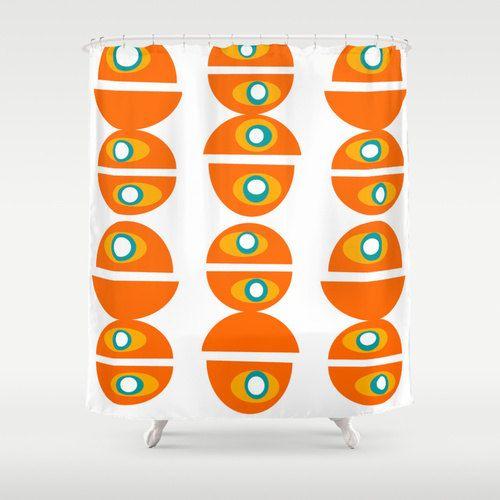 Orange Shower Curtain Modern Shower CurtainMid By Crashpaddesigns  Orange Shower Curtain