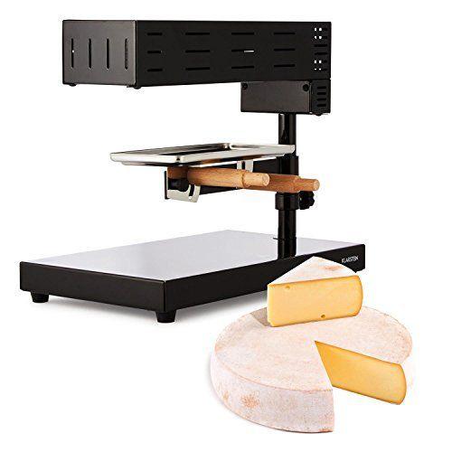 Klarstein Appenzell 2G Appareil à raclette dans le style traditionnel suisse (métal robuste, support à fromage flexible, poignée de réglage…