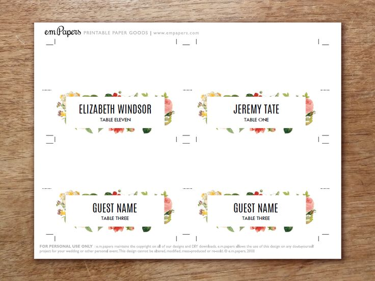 25 best ideas about printable place cards on pinterest for Make your own wedding place cards
