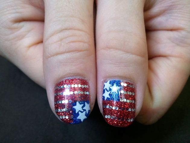 Pictures : Fourth of July Nail Art and Toe Nail Designs - Fourth Of July  Glitter Flag Nail Art - 192 Best Fourth Of July Patriotic Nail Design Images On