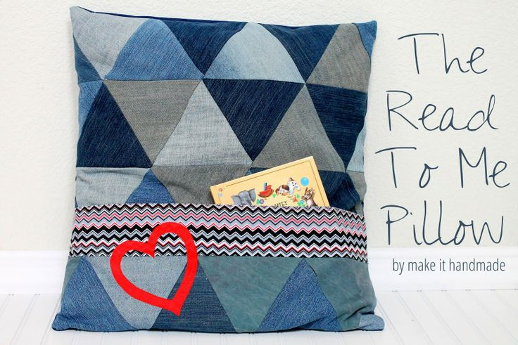 The Read To Me Pillow, a DIY sewn pillow that's big enough for two to share and has a pocket to hold your favorite bed time stories.