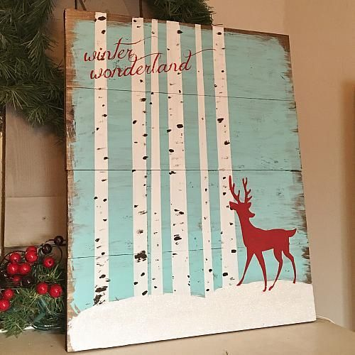Winter Wonderland Wooden Sign -- Envision your winter wonderland on a wooden sign.  #decoartprojects