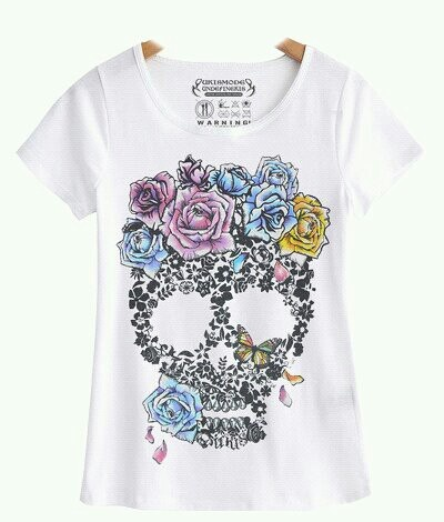 UKIS-Ladies Petite T-Shirt Unique Watercolor skull & roses shirt