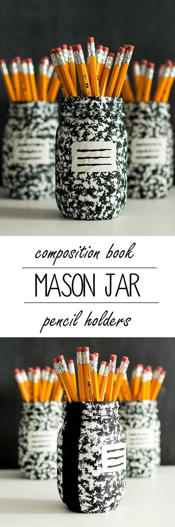 Desk Organizer Idea: Composition Book Mason Jar - Mason Jar Crafts Love