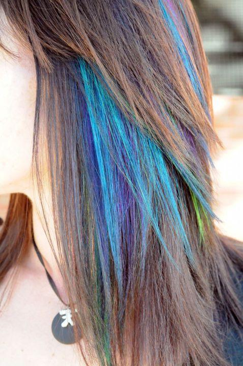 Peacock hair...Hair Ideas, Hair Colors, Peacocks Hair, Bright Hair, Hair Style, Peacocks Colors, Hair Chalk, Bright Colours, Colors Hair