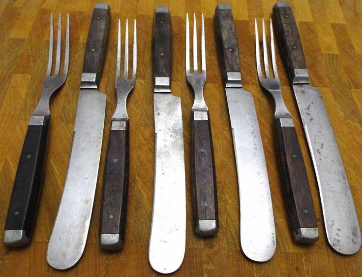 Civil War Era Wooden Pewter Inlay Handle LOT Knives & Forks Set LAMSON GOODNOW  #Americana #LAMSONGOODNOWCO