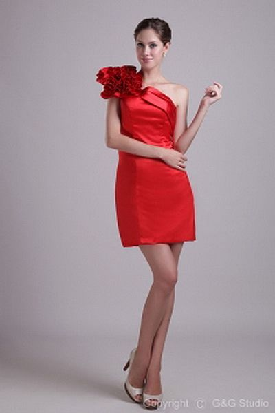 One-shoulder Classic Red Cocktail Dresses - Order Link: http://www.theweddingdresses.com/one-shoulder-classic-red-cocktail-dresses-twdn1281.html - Embellishments: Flower; Length: Short; Fabric: Satin; Waist: Natural - Price: 157.66USD