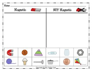 "Magnetic/Not Magnetic Sort (also see site for Game Board, ""Is It Magnetic?""; not free)"