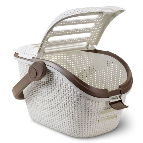 Cream Rattan Cat Carrier by Curver