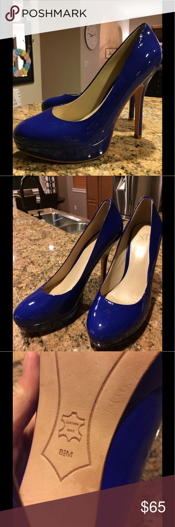 Joan & David Platform Heels Worn only once due to an injury! Patent leather with leather soles- Extremely comfortable! Gorgeous blue color with zero signs of wear. I'm open to offer- must clean out my closet. :) Joan & David Shoes Heels