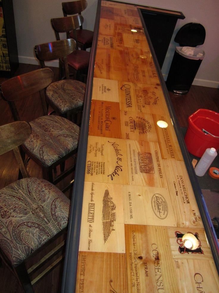 Bar Top Covered in Wine Crate Panels - Buy wine panels for a similar project at www.winecratesandboxes.com