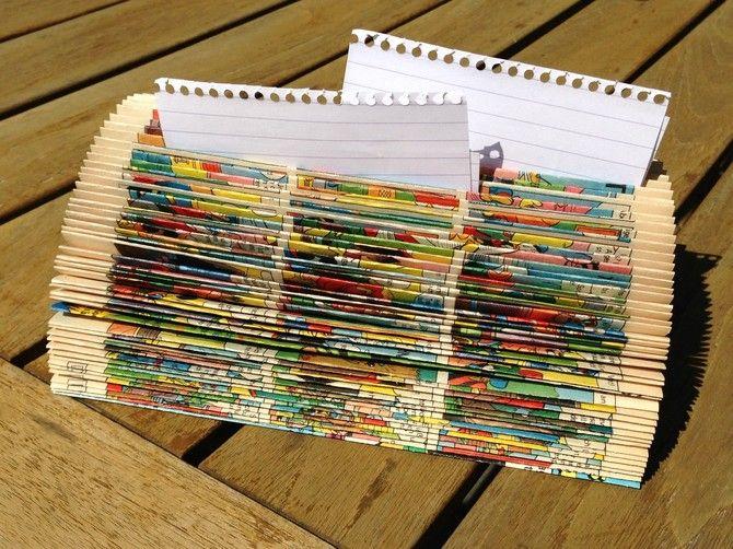 Recycling: Zettelhalter aus Comic-Buch - Tolle Idee für mehr Ordnung. Ganz leicht zu machen. Alles was ihr braucht ist ein Softcover-Taschenbuch.