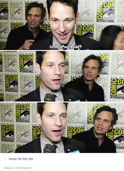 Mark Ruffalo | This would be my reaction if I saw Paul Rudd too... @theashtrees