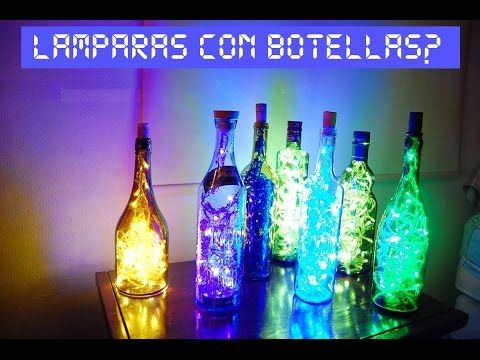 como hacer lamparas con botellas, iluminacion LED - YouTube