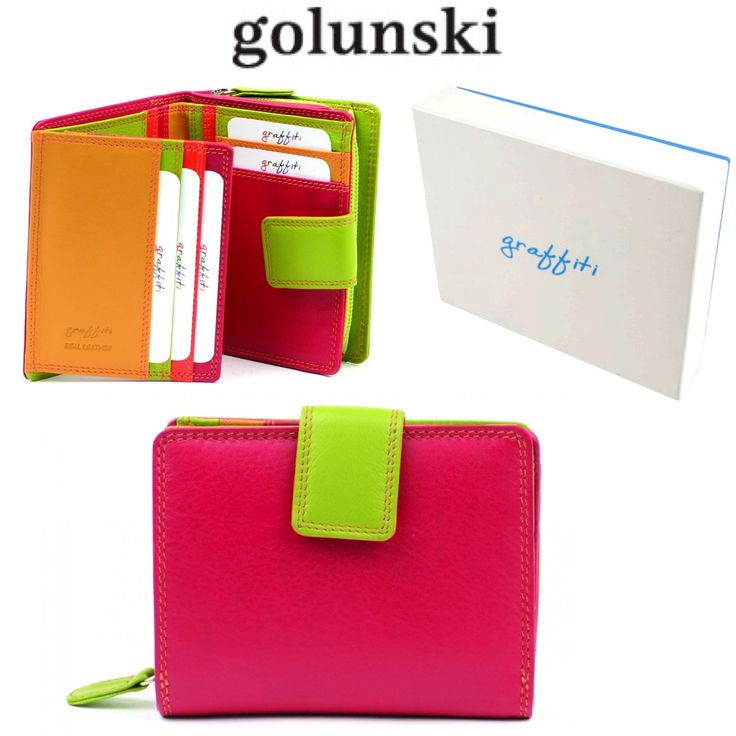 Style 7-142: Ladies Leather Multi Coloured Purse In Spice By Golunski