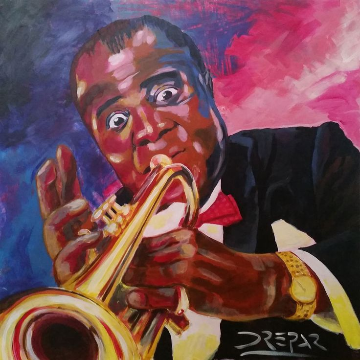 La tromba è uno strumento che mi ha sempre affascinato, ne amo il suono squillante, il colore dorato, il luccichio ma soprattutto la potenza con cui ti entra dentro e tocca i sentimenti. Questo quadro è un tributo al più famoso trombettista di tutti i tempi.   #acrilico #Armstrong #arte #artworks #dipinto #drepar #jazz #Louis #Louis Armstrong #musica #oro #ottone #tromba #trombettista