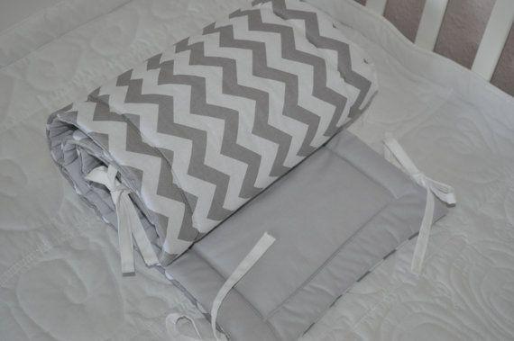 Lit gris pare-chocs Chevron gris lit tour de lit gris blanc