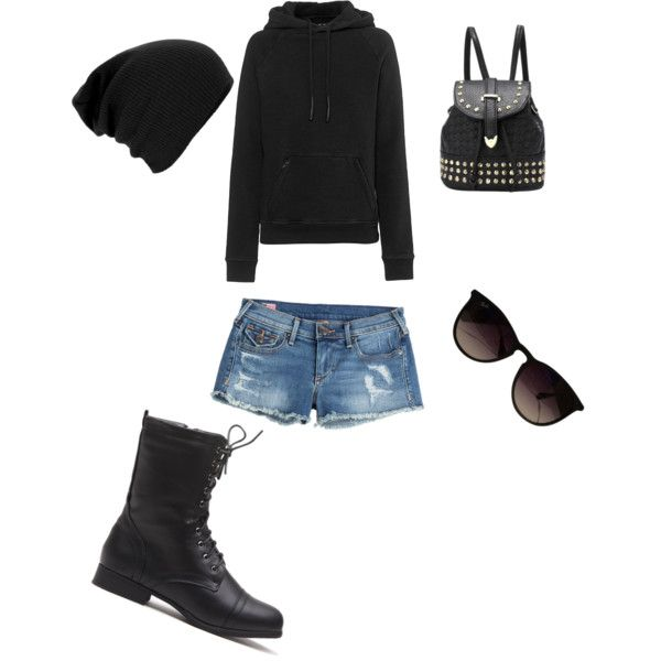 A fashion look from November 2015 featuring pullover hooded sweatshirt, cutoff shorts ve black military boots. Browse and shop related looks.
