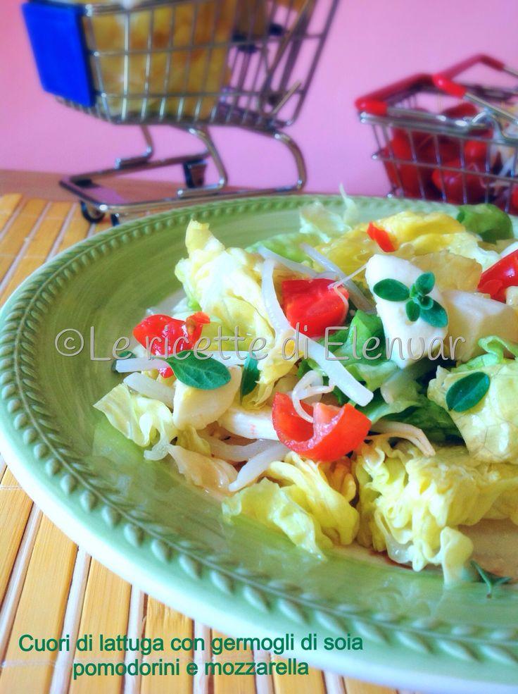 Insalata fresca, estiva e coloratissima a base di lattuga, germogli di soia, pomodorini e mozzarella.