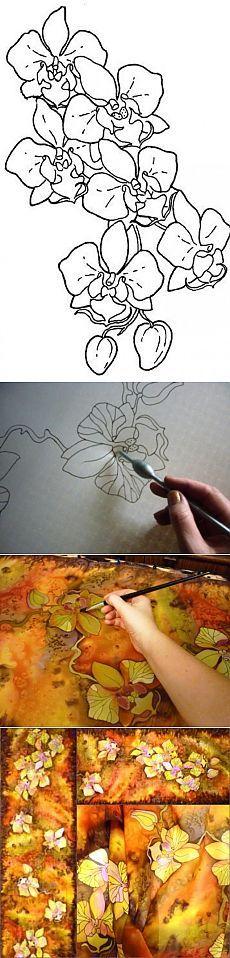 Дикие Орхидеи(шарф). МК, роспись по батику от Виктории Игнатовой. | Золотые Руки