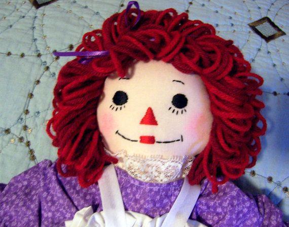 16 1/2 Inch Raggedy Ann DollRaggedy Anne, Dolls Raggedy, Lavender Dresses, Anne Dolls, Lavender Handmade, Awesome Etsy, 42 00, Dresses Handmade, Dolls Lavender