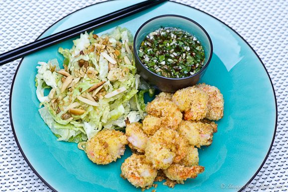 Panko Crusted Shrimp with Chili Garlic Glaze and Asian Slaw and a review of the Actifry Cooker