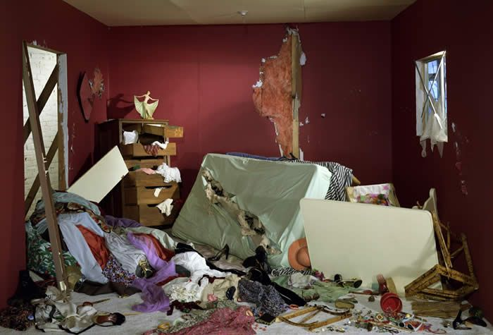 Jeff Wall. The Destroyed Room, 1978.  Transparency in light box.  Jeff wall is a Canadian artist who is well regarded for his large scale dramatic images which use a variety of techniques including back-lit cibachrome.  He is one of the most innovative photographers of our time, largely focusing on everyday incidents and circumstance.