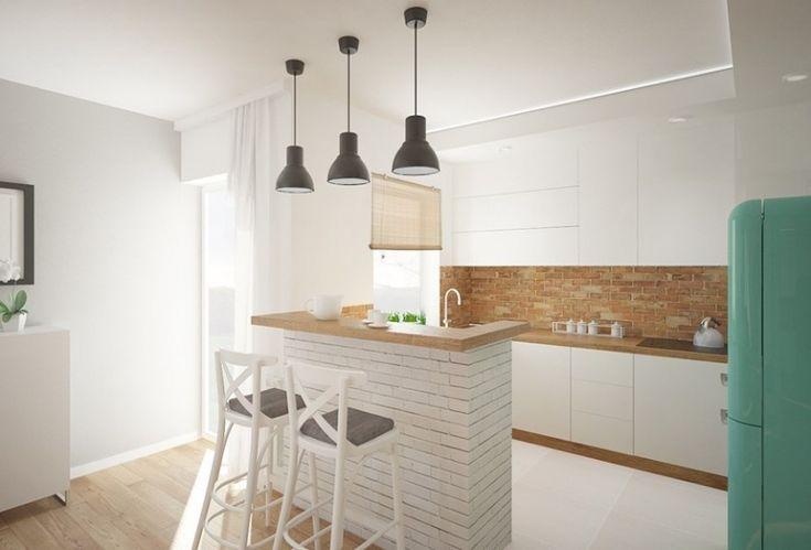 bar en brique blanche et plan de travail cuisine en bois clair