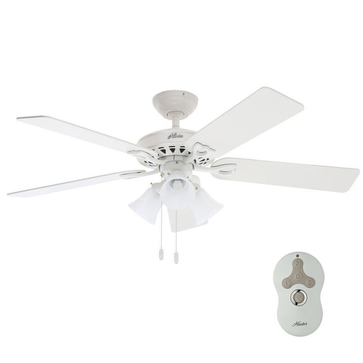Indoor White Ceiling Fan With Universal Remote
