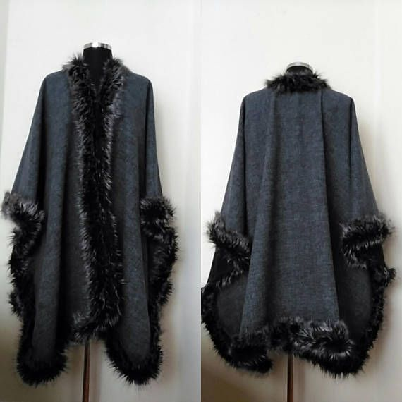 Wool Cape with Silver Faux Fur Trim Alpaca Women Poncho Oversize Gray Long Coat #integritytt #etsyspecialt #womenstyle #classyandfashionable #outfitshare
