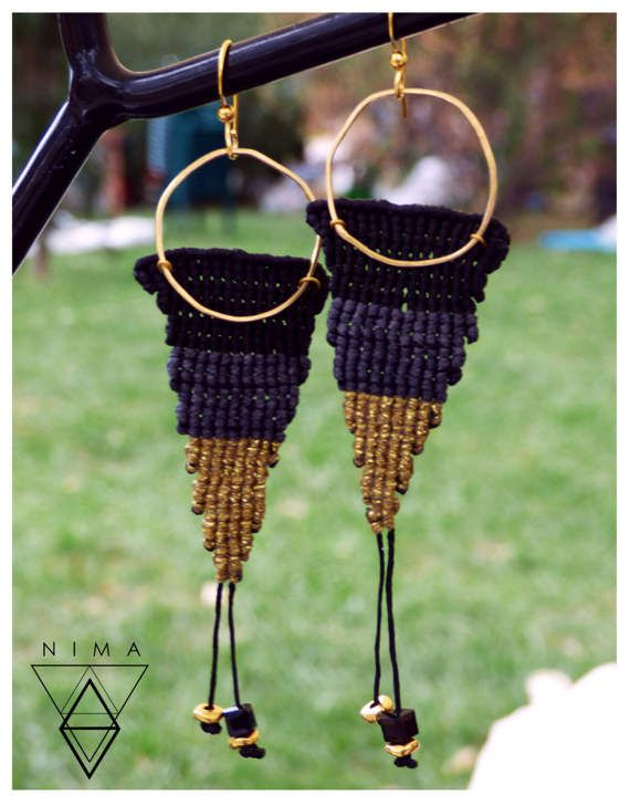 Hey, I found this really awesome Etsy listing at https://www.etsy.com/listing/502199116/triangle-macrame-earrings-with-gilded