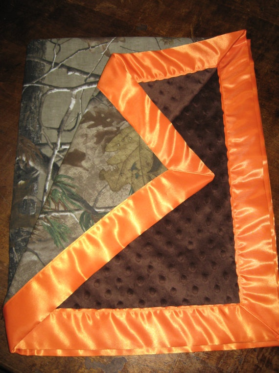 Well, I'm sure I'll be making this if we ever have a son.... :p Realtree camo and orange 28x36 blanket