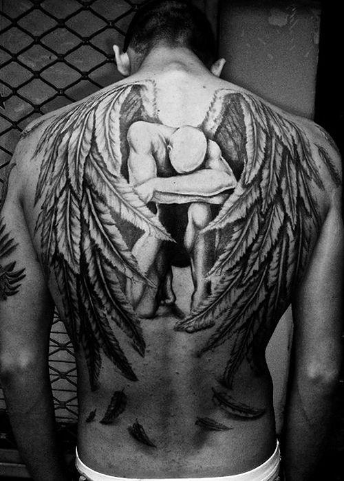 Male Angel Tattoo Designs - http://amazingtattoogallery.com/male-angel-tattoo-designs-2/ #tattooart #tattoo #artdesign
