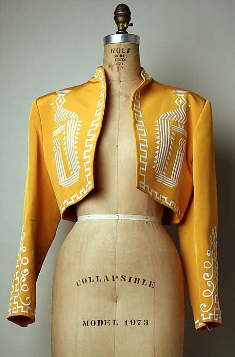 Jacket Rifat Ozbek (British, born Turkey, 1953) http://www.metmuseum.org/Collections/search-the-collections/79449?rpp=20&pg=1&rndkey=20140325&ao=on&ft=*&deptids=8&where=United+Kingdom&who=Rifat+Ozbek&pos=2