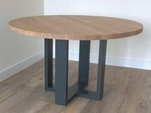 Eettafel rond eikenhout twee kleuren RAL licht rustiek
