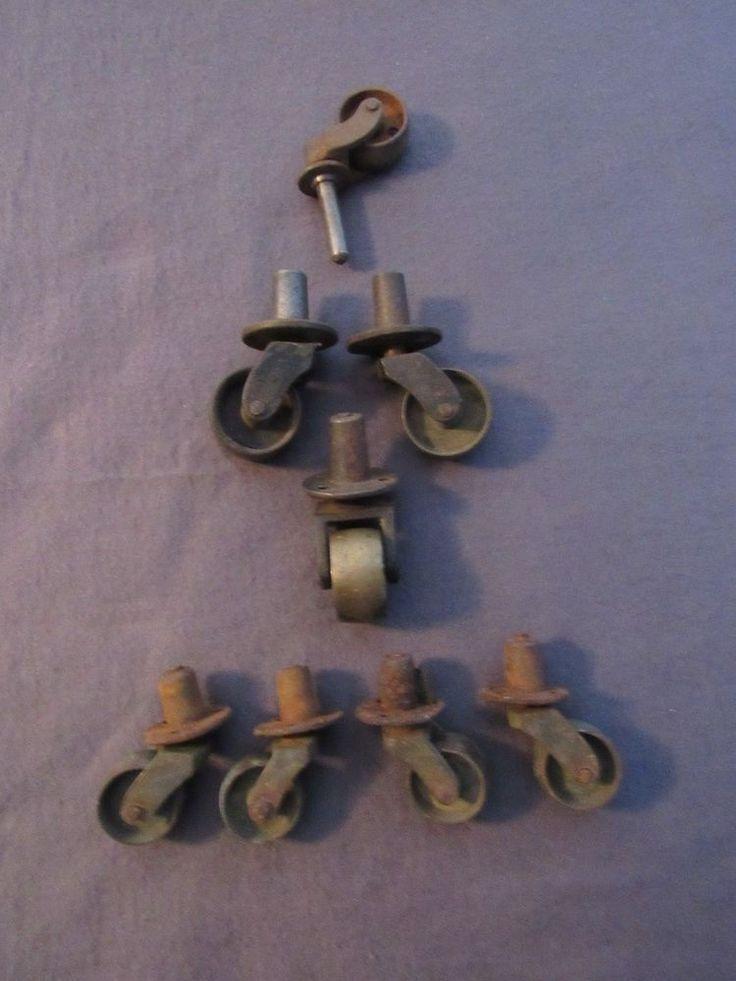 Lot of 7 Iron Casters Brass Wheels Vintage Salvage Furniture Restoration