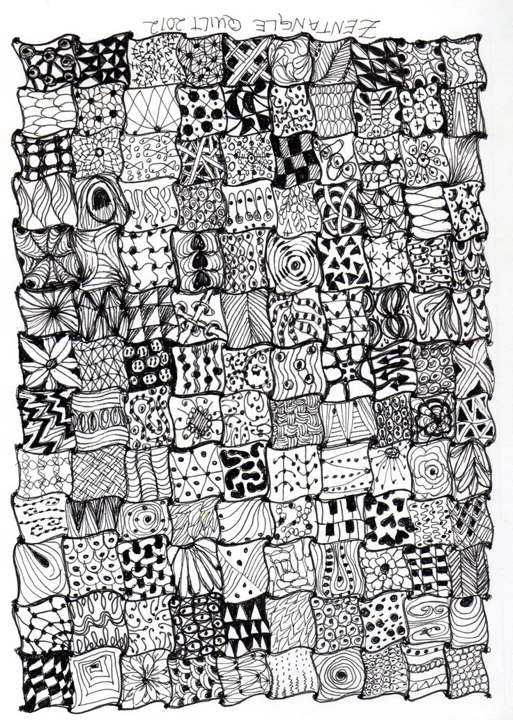 Pattern/Texture lesson - Zentangle quilt. Each student could create or paper could be cut in wavy pattern and each student could create parts before reassembling.